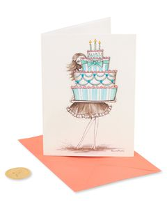 Girl Holding Cupcake Birthday Greeting Card for Sister- Designed by Bella Pilar