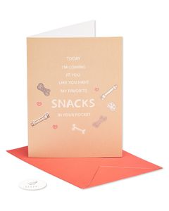 favorite snacks valentine's day card from dog