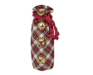 Mud Pie White Tartan Jinglebell Wine Bag