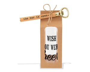 Mud Pie Wish You Were Beer Glass and Bottle Opener Set, 2-Count