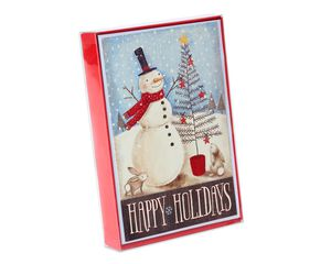 Snowman Christmas Boxed Cards and White Envelopes, 14-Count