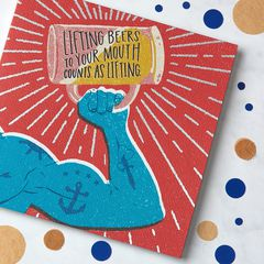 Lifting Greeting Card for Him - Birthday, Thinking of You, Congratulations