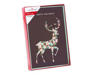 Deluxe Deer Christmas Boxed Cards and Mint Green Envelopes, 14-Count