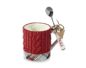Mud Pie Red Mug and Spoon Set, 2-Count