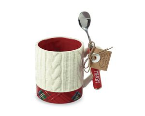 Mud Pie White Mug and Spoon Set 2-Count