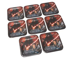 star wars: the force awakens dinner square plate 8 ct