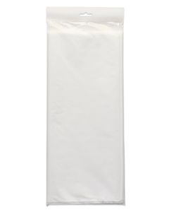 white plastic table cover 54 in. x 108 in.