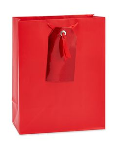 medium red with gift tag gift bag