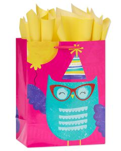 medium birthday owl gift bag with tissue