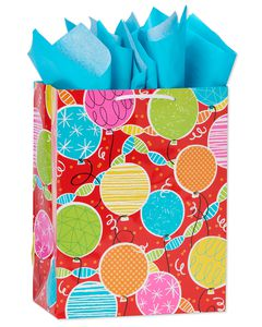 medium birthday balloons gift bag with tissue
