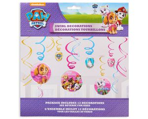 paw patrol pink hanging party decorations