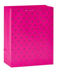 medium pink glitter dots gift bag