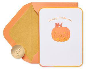 Sequin Pumpkin Happy Halloween Greeting Card