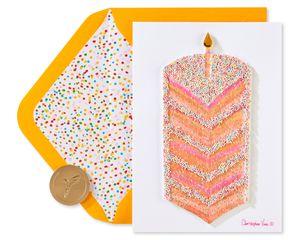 Tall Cake Slice Birthday Greeting Card