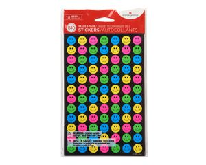 Mini Neon Smiles and Stars Stickers, 840-Count