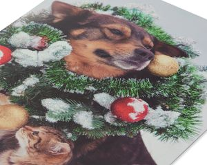 Dog and Cat Christmas Wreath Boxed Cards and White Envelopes, 12-Count