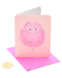 Cotton Candy Cat Birthday Greeting Card