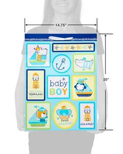 Jumbo Baby Boy Gift Bag, Nautical Icons