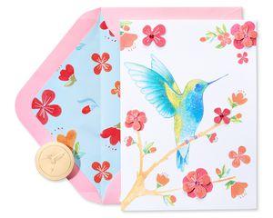 Hummingbird On Branch Blank Greeting Card