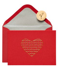 Embroidered Heart Blank Greeting Card
