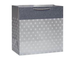 Extra-Large Silver Dot Gift Bag