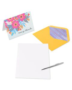 Vibrant Florals Thank You Boxed Blank Note Cards with Envelopes, 20-Count