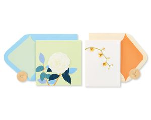 Rose and Orchid Blank Greeting Card Bundle, 2-Count