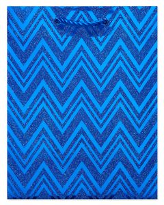 Blue Chevron Holiday Gift Bag