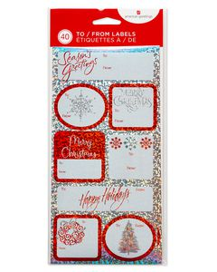 Shimmery Christmas Gift Tag Stickers, 40-Count