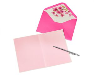 Pink Glitter Butterflies Blank Greeting Card