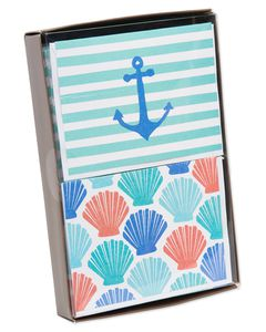 Beach Theme Blank Cards and Envelopes, 50-Count