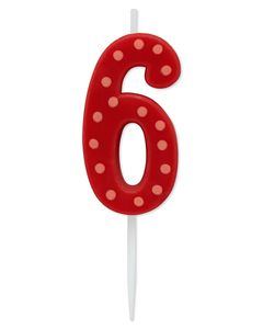 Red Polka Dots Number 6 Birthday Candle, 1-Count
