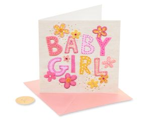 Patchwork Baby Girl New Baby Greeting Card