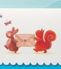 Bunny & Squirrel Boxed Blank Note Cards with Glitter, 14-Count