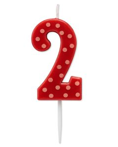 Red Polka Dots Number 2 Birthday Candle, 1-Count
