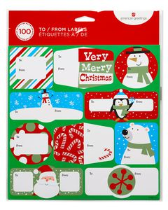 Holiday Gift Tag Stickers, 100-Count