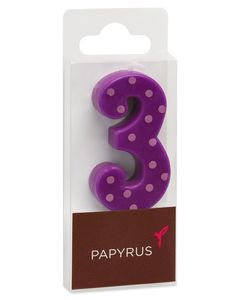 Purple Polka Dots Number 3 Birthday Candle, 1-Count