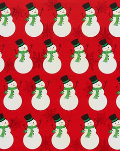 Christmas Wrapping Paper, Snowman with Red Snowflakes 45 sq. ft.