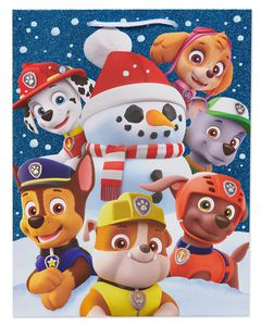 Medium PAW Patrol with Glitter Christmas Gift Bag