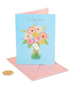 Floral In Vase Birthday Greeting Card