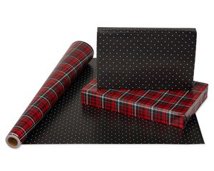 Christmas Reversible Wrapping Paper, Red and Black Plaid and Black Polka Dots, 1-Roll, 175 Total Sq. Ft.