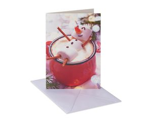 Marshmallow Man Christmas Boxed Cards and White Envelopes, 12-Count