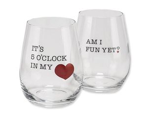 5 o'clock & fun wine glasses (set of 2)