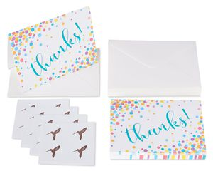 Confetti Thank You Boxed Blank Note Cards with Envelopes, 16-Count