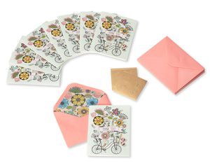 Flowers & Bike Handmade Thank You Boxed Blank Note Cards with Glitter, 8-Count