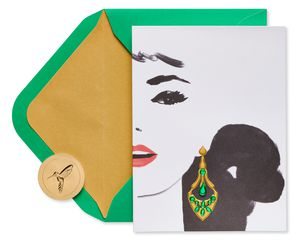 Gem Earring Boxed Cards and Envelopes, 8-Count