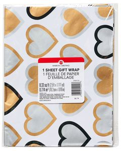 Wedding Wrapping Paper, Gold and Silver Hearts, 2.5' x 3.33'