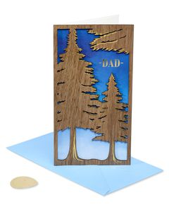 Trees Lasercut Wood Father's Day Greeting Card