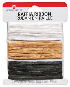 White, Tan and Black Raffia Ribbon, 6 Ft. Each, 18 Ft. Total