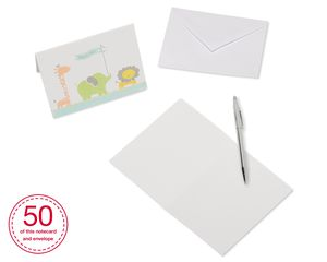 Giraffe, Elephant and Lion Baby Thank You Cards and White Envelopes, 50-Count